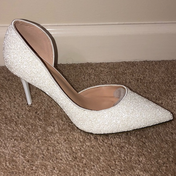 1a8045af9152 NEW White wedding glitter shoes!!!